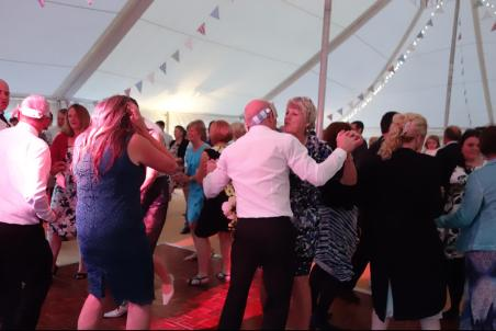 Busy Dancefloor at Rachel & Ryan's Wedding, Tredudwell Manor, May 2015