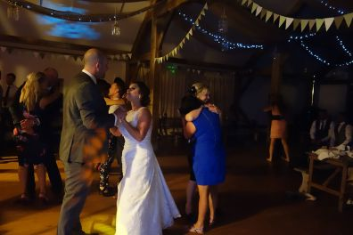 Phil & Jodie dancing together for the last dance of the night, Nancarrow Farm, October 2015