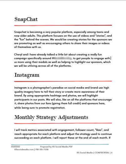 A page for SnapChat and Instagram, plus monthly strategy adjustments for a sample social media marketing proposal