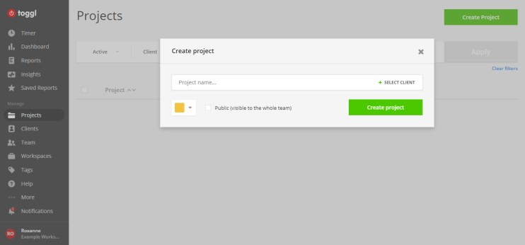 Here is an example of what it looks like to add a project into the time tracker.