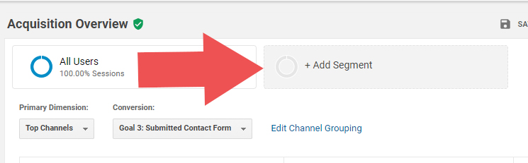 "The ""+Add Segment"" button in Google Analytics helps us find our Dark Social Media Traffic"