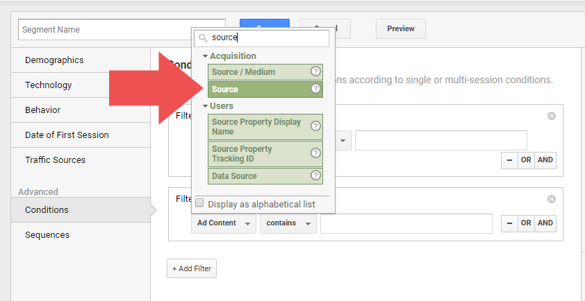 By adding a source filter to our segment, we're narrowing the focus onto specific traffic.