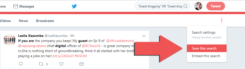 Under your Twitter search options, you can save your search, so you can begin to earn links from your social media and SEO campaigns.