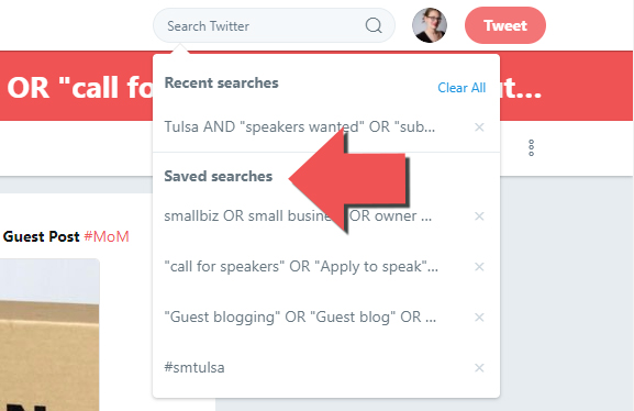 Now we can find our saved Twitter searches when we want to use them to earn links for our future or current social media and SEO campaigns.