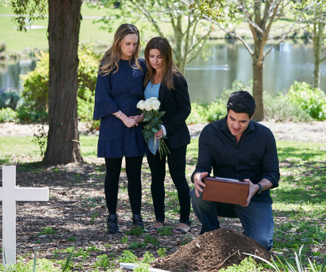 home and away: Leah accompanies Tori and Justin, having missed the drama while being held captive. Image: Seven Network