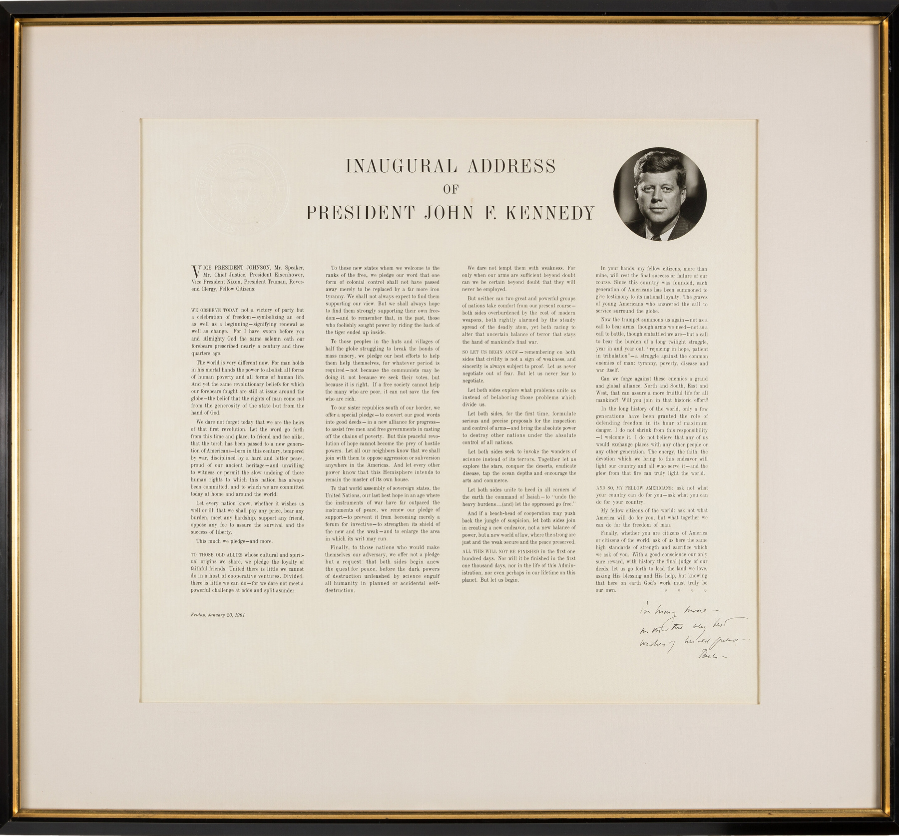 John F Kennedy Signed Inaugural Address