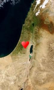 Israel Satellite Image Jerusalem Heart