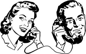Talking on phone communication clip art