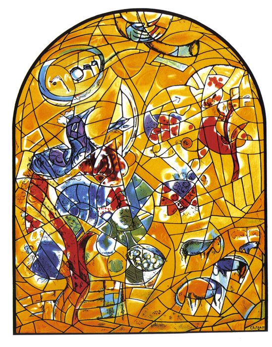 a picture of the 'joseph' stained glass window at hadassah hospital in jerusalem