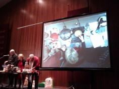 Rabbi Joe Eiduson (Congregation B'nai Shalom, Westborough, MA) and me cooking, with us projected simultaneously on a big screen.