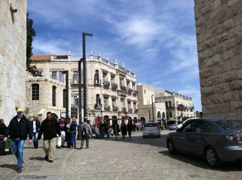 Jaffa Gate, approached from the new Mamilla Mall. Jerusalem.