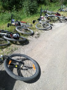 Our bikes, during a break, on the ride.