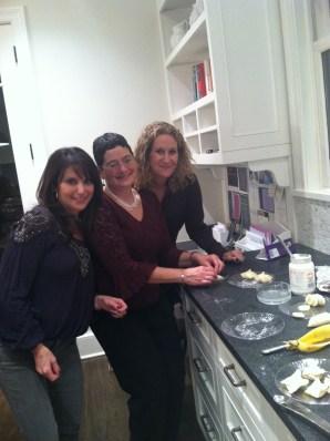 Dori Resnick, Sara Hoffman and Nancy Hoffman: making the Chocolate Wontons