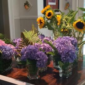 Preparing the centerpieces with flowers from my garden