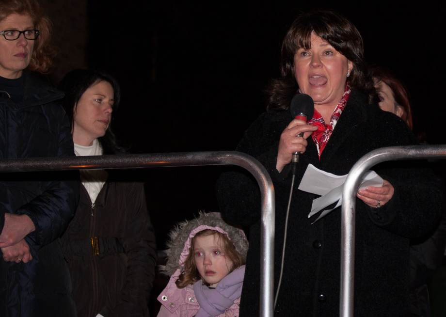 Caroline Simons addresses crowd at 'Vigil 4 Life'