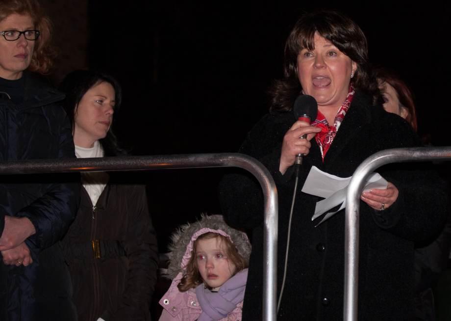 Caroline Simons addresses crowd at 'Vigil 4 Life'