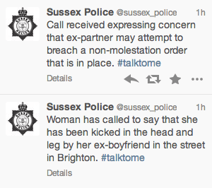 Sussex Police log domestic calls on twitter