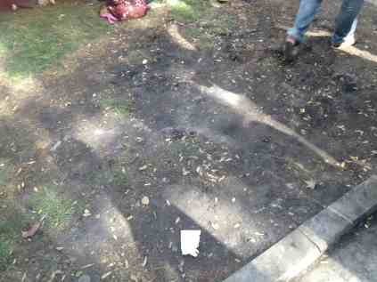 Scorched earth where a tent had stood yesterday before the police began to burn them