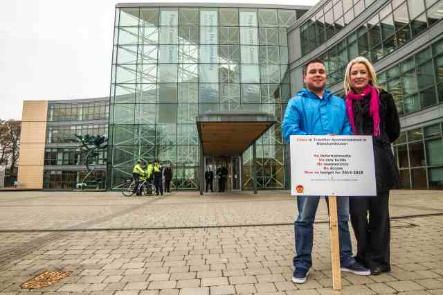 Geraldine & David McDonnell of Dunsink Lane outside Fingal County Council offices