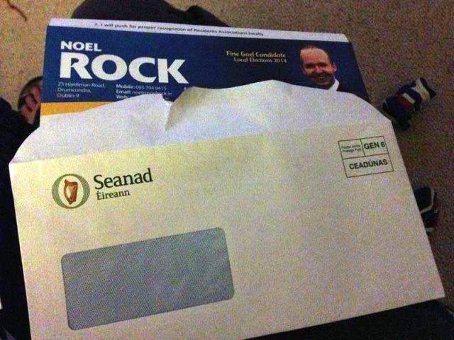 Noel Rock's canvassing pamphlets delivered in Seanad envelopes