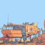 landscapes futuristic desert artwork vehicles traditional art moebius french artist 1024x768 wall_wallpaperswa.com_2