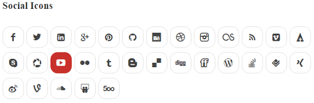 Social Icons - Shortcode - Design - Readme WP Responsive RabinsXP HTML5 & CSS3 Website Template