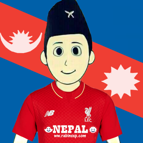 Liverpool FC Fan From Nepal - With Stripe Moon and Sun - With Star and Moon on Jersey - PNG
