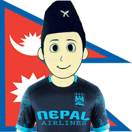 Manchester City Fan From Nepal - With Flag - Nepal Airlines-JPEG