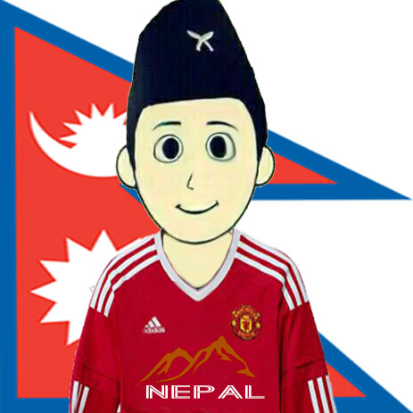 Manchester United Fan From Nepal - With Flag - Mountains Nepal-JPEG
