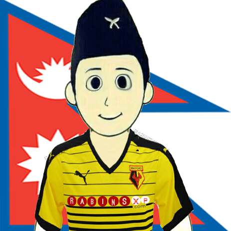 Watford FC Fan From Nepal - With Nepal Flag - PNG