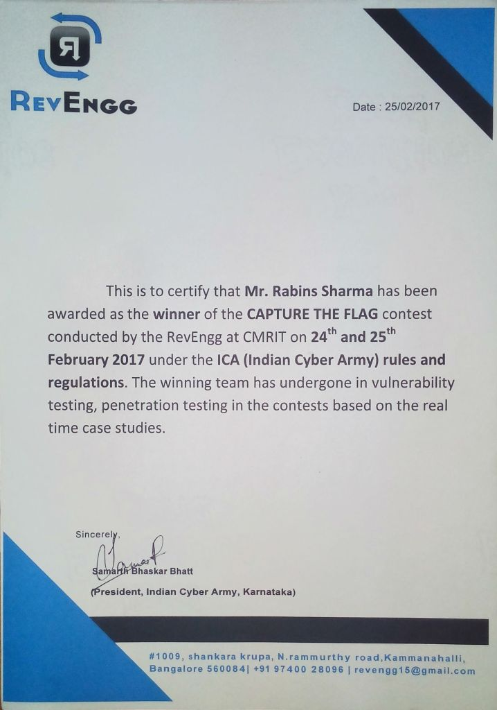 Rabins' certificate - winner of ethical hacking competition