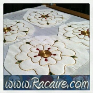 2016-08 - Racaire - 14th century hood - rose - roses - surface couching - hand embroidery - medieval embroidery - SCA