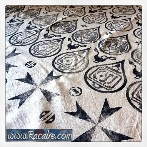 2018-04-01 _ Racaire - Conrads 12th century printed silk tunic project - raw silk - sca - 12th century - 13th century - medieval patterns - block printing