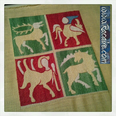 Commission – 14th century French Pouch .1 – sneak peek progress .18 – 2nd embroidered section finished :)