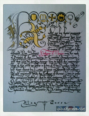 2014-10 - Racaire - Hrothgars knighting scroll - SCA scroll - Calligraphy