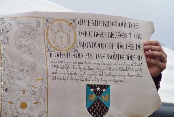 2017-09- Racaire - Duchess Rhiannon - 12th century scroll project - SCA scrolls - awards - Kingdom of Meridies - Duchess scroll