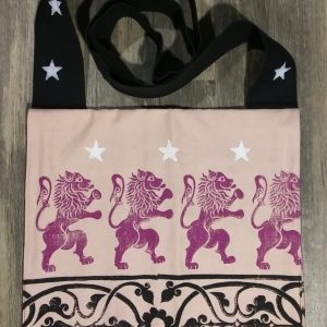 Bag made from pink and black cotton canvas, lined with black cotton fabric & hand printed with hand carved 16/17th century rampant lion, 13th century decorative border and star stamp.