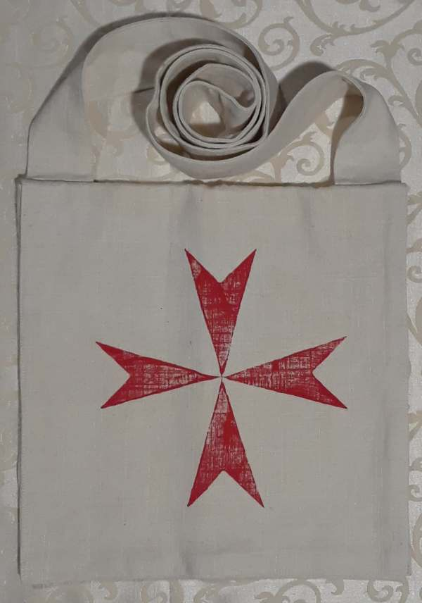 Pilgrim crusader bag with red cross print - made from heavy cotton fabric, lined, printed with hand carved cross stamp in red. Machine washable!