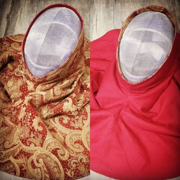 Reversible hood / SCA fencing mask hood cover, lined with red cotton canvas for extra safety. Hood is completely reversible, machine washable and can be custom printed.