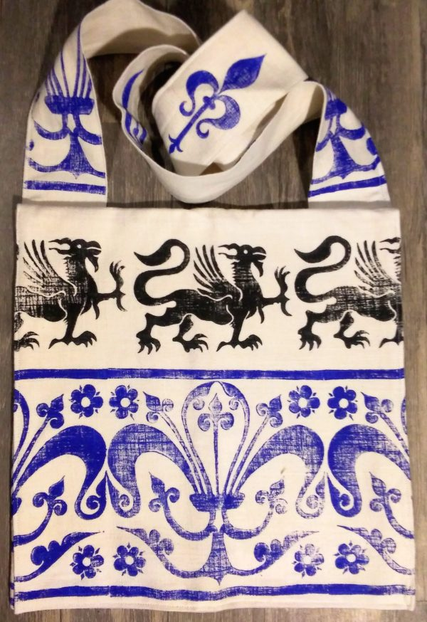 Griffin bag made from white cotton fabric, lined with white cotton fabric & hand printed with hand carved 13th century griffin & decorative border stamp.