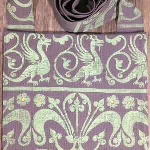 Dragon bag made from lovely grey cotton fabric, lined with white cotton fabric & hand printed in light green with a hand carved 13th century dragon & decorative border stamp.