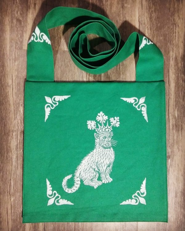Catking bag made from green cotton canvas, lined with white cotton fabric & printed with a hand carved 15th century inspired catking stamp.