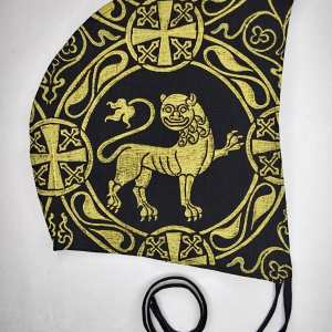 Large size linen coif / arming cap made from black linen fabric & hand printed with a hand carved 12th century inspired lion stamp. New fabric, ready to wear & machine washable!