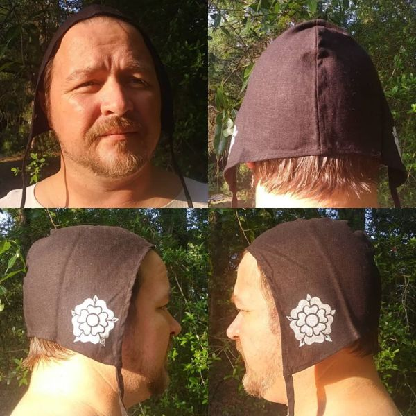 Large linen coif/arming cap made from lovely black linen fabric, handprinted in white with a handcut medieval inspired rose stamp.