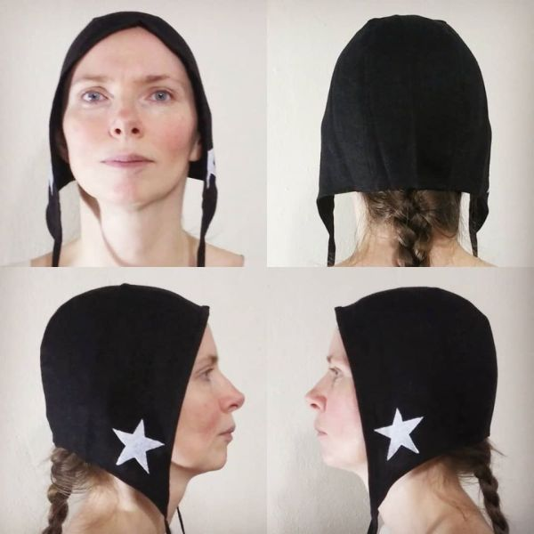 Medium linen star coif/arming cap made from lovely black linen fabric, handprinted in white with handcut star stamps. Machine washable!