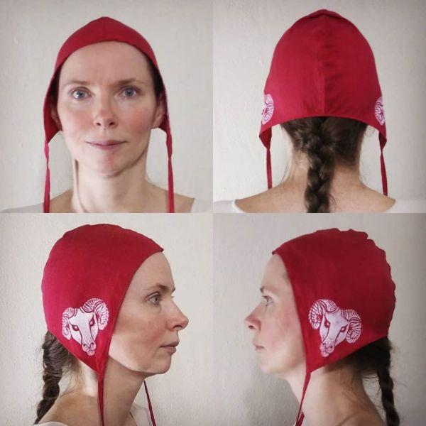 One of a kind small size silk coif / arming cap made from lovely red silk, printed by hand in white with a handcut ram head stamp.