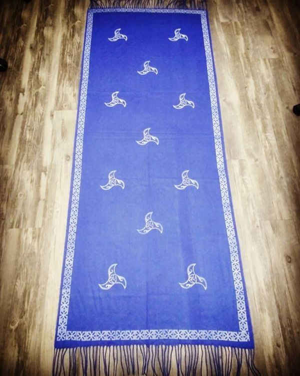 Soft & cozy blue scarf with triskele & 13th century inspired border print. Hand printed in white with hand carved stamps. The scarf material is new, pre-washed, ready to wear & machine washable!