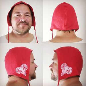 XL size red linen coif / arming cap made from nice red linen, printed by hand in white with a handcut ram head stamp. Ready to wear and machine washable!