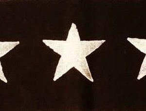 Handprinted linen star trim with star print made from black linen fabric, handprinted in white with a handcut star stamp. Machine washable!