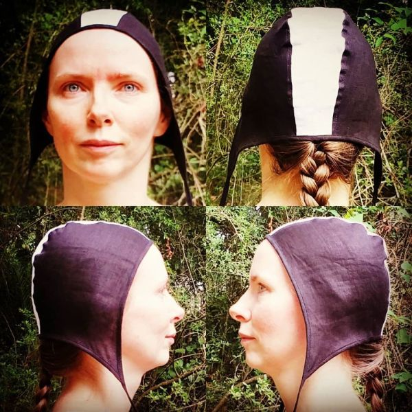 Small black & white linen coif / arming cap made from lovely soft black & white linen fabric. The fabric is already pre-washed, the linen coif is ready to wear & machine washable!